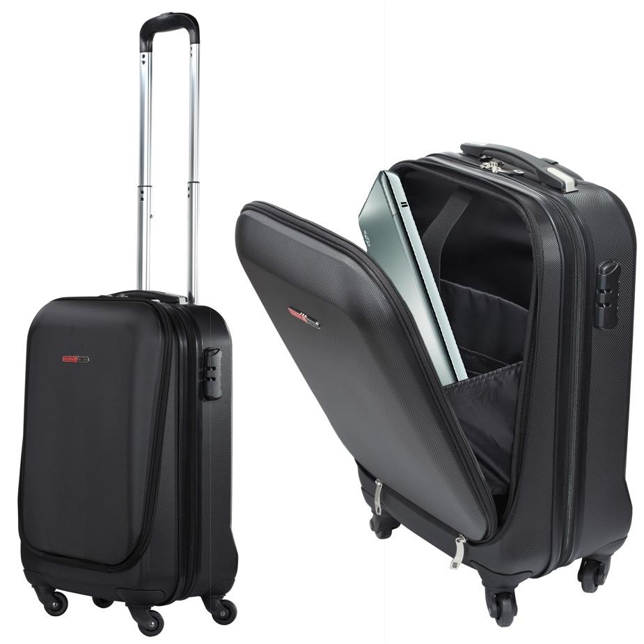 swisscase pro business traveller 20 abs 4 wheel cabin suitcase w laptop pocket ebay. Black Bedroom Furniture Sets. Home Design Ideas