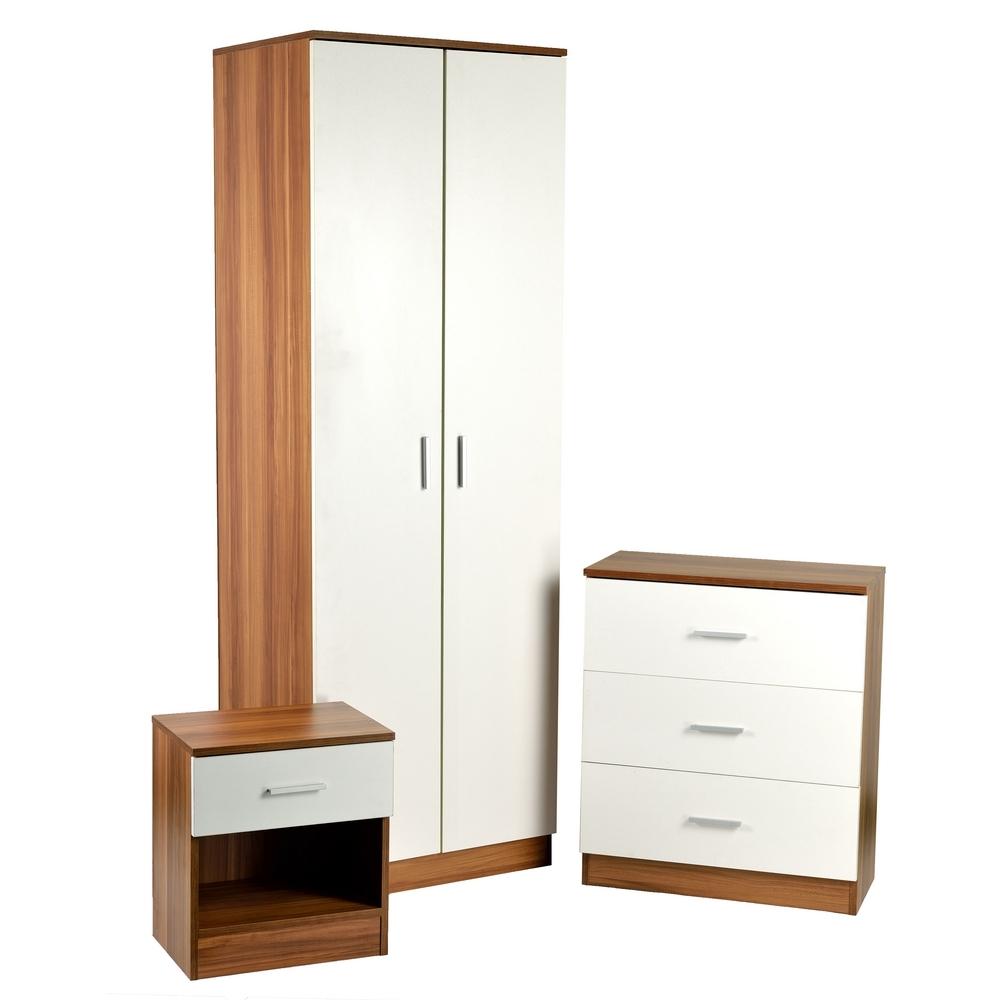 homegear 3 piece bedroom furniture set wardrobe drawers and bedside cabinet ebay. Black Bedroom Furniture Sets. Home Design Ideas