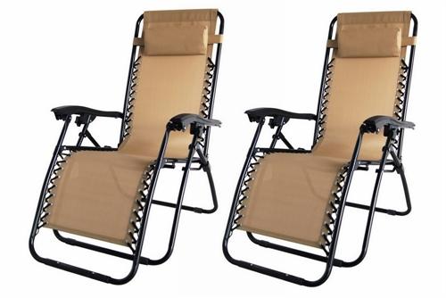 2x Palm Springs Folding Zero Gravity Garden Chairs